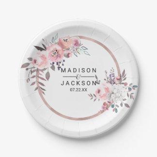Rougissent et le monogramme floral de mariage assiettes en papier