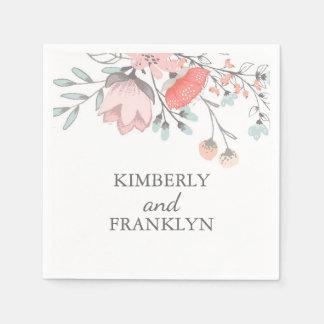 rougissent le mariage floral rose serviettes jetables