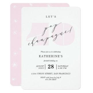 Rougissent le quarantième invitation rose de fête