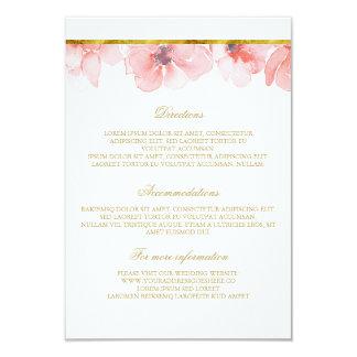 Rougissent les détails floraux de mariage d'or - carton d'invitation 8,89 cm x 12,70 cm