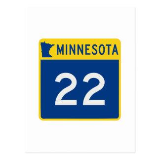 Route 22 de tronc du Minnesota Carte Postale