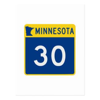 Route 30 de tronc du Minnesota Carte Postale