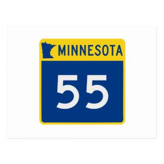Route 55 de tronc du Minnesota Carte Postale