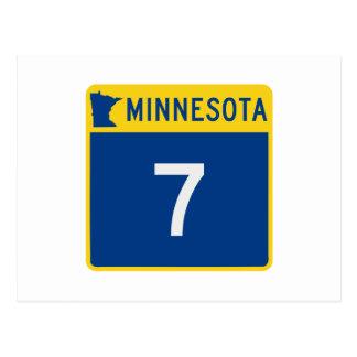 Route 7 de tronc du Minnesota Carte Postale