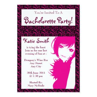 Roze Dame Bachelorette Party Invitation Kaart