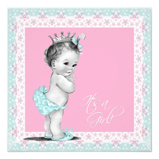 Roze en Blauwgroen Blauw Baby shower 13,3x13,3 Vierkante Uitnodiging Kaart