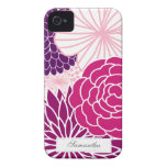 Roze en Paars Mod. Bloemen iPhone 4 Cover