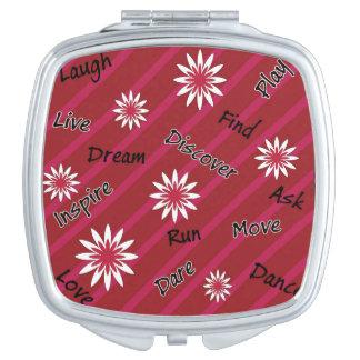 Roze en witte bloem motivatie compacte spiegel makeup spiegel