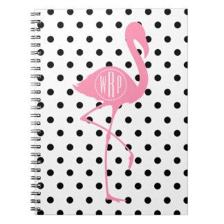 Roze Flamingo met monogram + Zwarte Stip Ringband Notitieboek