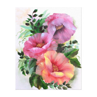 Roze geeloranje papavers bloemen canvas afdrukken