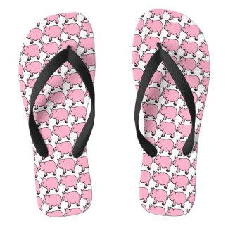 Roze MiniVarken, het Brede Teenslipper van Riemen Teenslippers