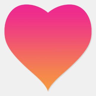 Roze & Oranje Ombre Hartvormige Stickers