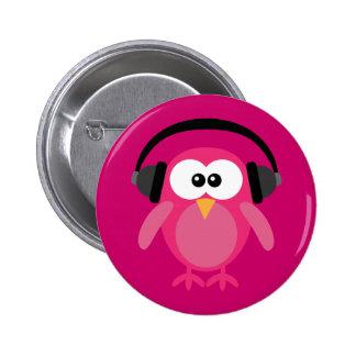 Roze Uil met Hoofdtelefoons Speldbutton