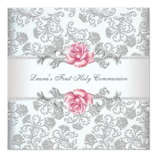 Roze van het damast nam de Eerste Heilige Communie Kaart