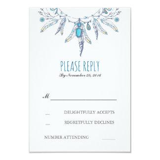 rsvp de mariage de boho de dreamcatcher carton d'invitation 8,89 cm x 12,70 cm