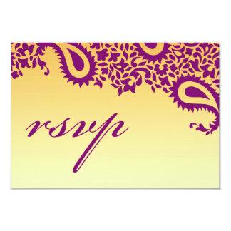 RSVP épousant la carte indienne de style Carton D'invitation 8,89 Cm X 12,70 Cm