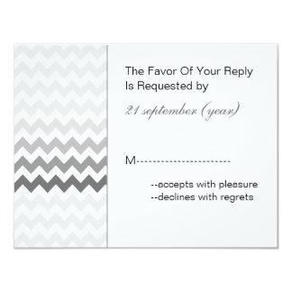 Rsvp gris de mariage d'Ombre de chevron de mod Carton D'invitation 10,79 Cm X 13,97 Cm