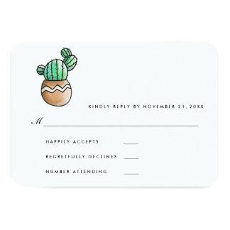 RSVP l'épousant minimal rustique succulent Carton D'invitation 8,89 Cm X 12,70 Cm