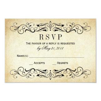 RSVP l'épousant vintage carde le Flourish élégant Carton D'invitation 8,89 Cm X 12,70 Cm