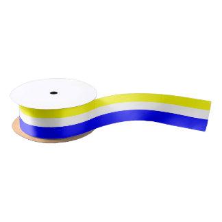 Ruban blanc et Bleu-Rayé jaune de satin Ruban En Satin