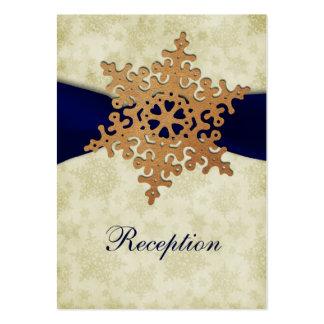Ruban de bleu marine, flocon de neige rustique cartes de visite personnelles