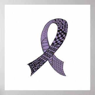 Ruban de conscience de Cancer dans toute couleur Poster