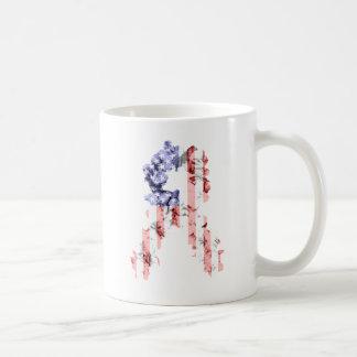 Ruban de fleur de bannière étoilée mug