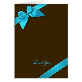 Ruban de turquoise sur le Merci de Brown Carte De Correspondance