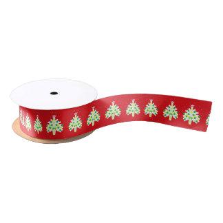 Ruban En Satin Arbres de Noël rouge et blanc avec les babioles au