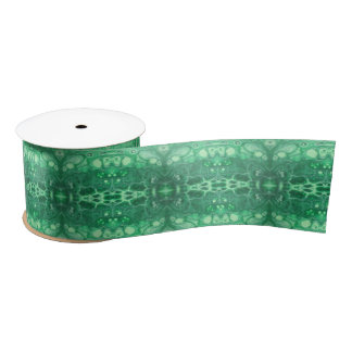 Ruban En Satin Kaliedoscope vert abstrait de tidepool