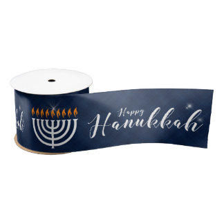 Ruban En Satin Menorah blanc avec Hanoukka bleu et moderne