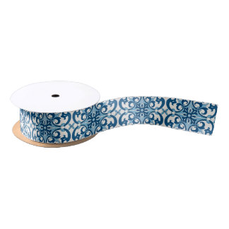 Ruban En Satin Motif d'Azulejo Fleur De Lis Style de Portugais