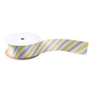 Ruban En Satin Motif diagonal gris et jaune de rayures