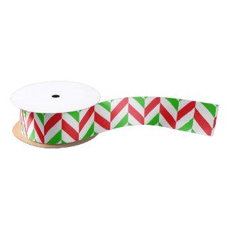 Ruban En Satin Noël en arête de poisson rouge et vert de motif