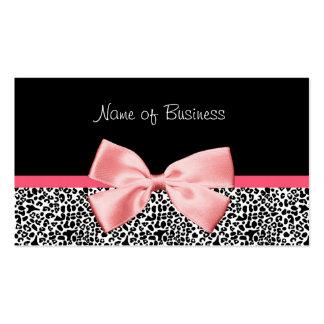 Ruban noir et blanc à la mode de rose d'empreinte carte de visite standard