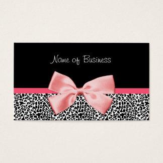 Ruban noir et blanc à la mode de rose d'empreinte cartes de visite