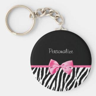 Ruban noir et blanc à la mode de rose d'impression porte-clés