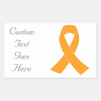 Ruban orange de conscience - leucémie, sticker rectangulaire