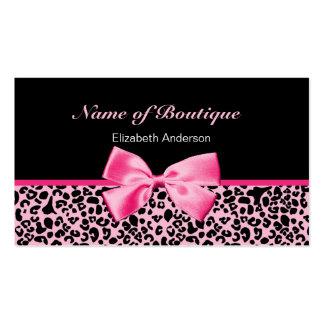 Ruban rose et noir de boutique à la mode de léopar carte de visite