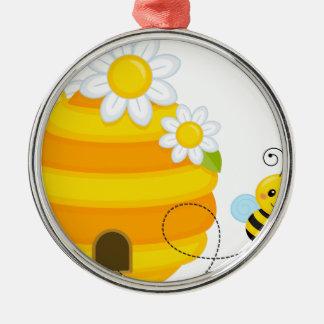Ruche d'abeille ornement rond argenté
