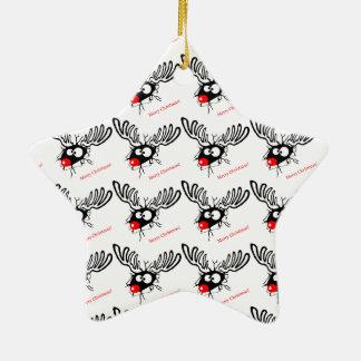 Rudolf drôle le mur criqué de renne de Noël Ornement Étoile En Céramique