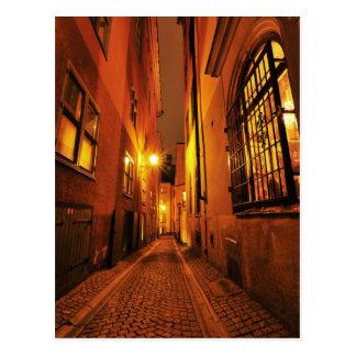 Rue dans Gamla Stan à Stockholm, Suède la nuit Carte Postale