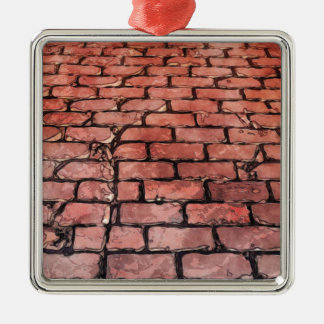Rue vintage de brique ornement carré argenté