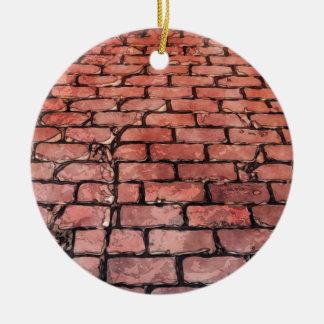 Rue vintage de brique ornement rond en céramique