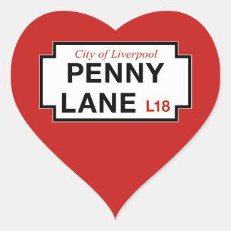 Ruelle de penny, plaque de rue, Liverpool, R-U Sticker Cœur