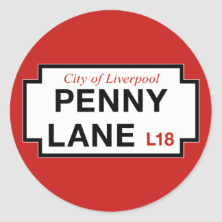 Ruelle de penny, plaque de rue, Liverpool, R-U Sticker Rond