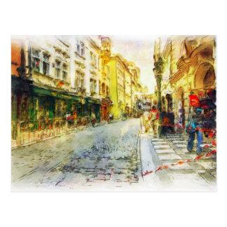 Rues de vieille aquarelle de Prague Carte Postale