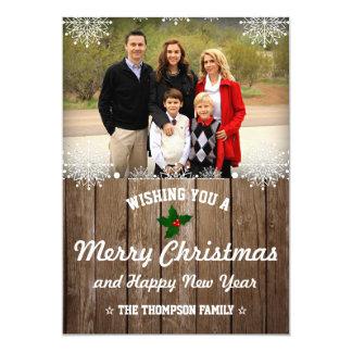 Rustieke Houten Kerstmis van het Land van | | Foto 12,7x17,8 Uitnodiging Kaart