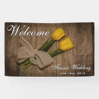 Rustieke Tulpen en Houten Welkom Huwelijk Spandoek