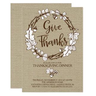 Rustique donnez le dîner de thanksgiving de mercis carton d'invitation  12,7 cm x 17,78 cm
